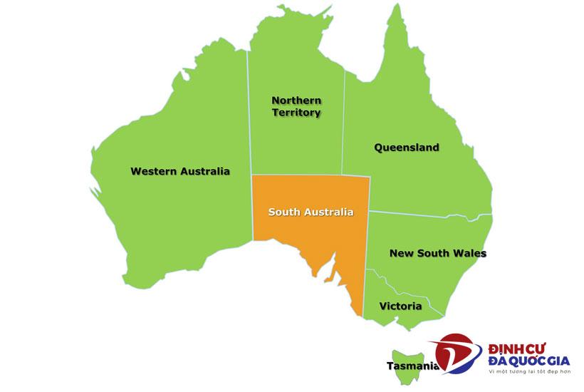 Vị trí bang South Australia