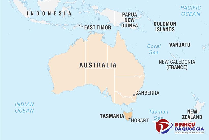 Vị trí bang Tasmania